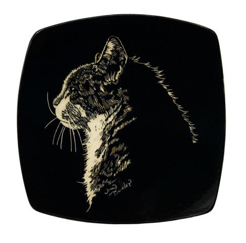 cat pottery platter
