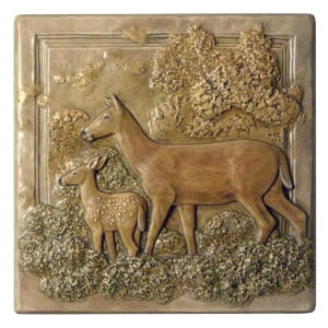 "N 07 - Whitetail Doe and Fawn6""x6"" Tile"